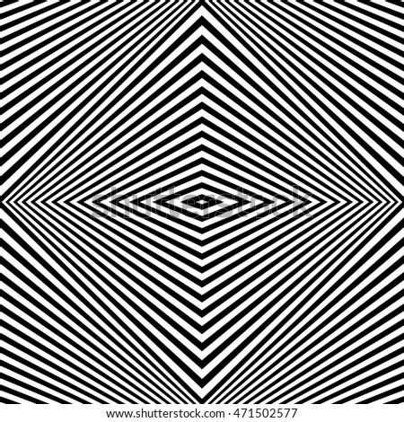 Pattern with symmetric ornament. Black rhombuses on white background abstract. Psychedelic op art style wallpaper. Vector illustration