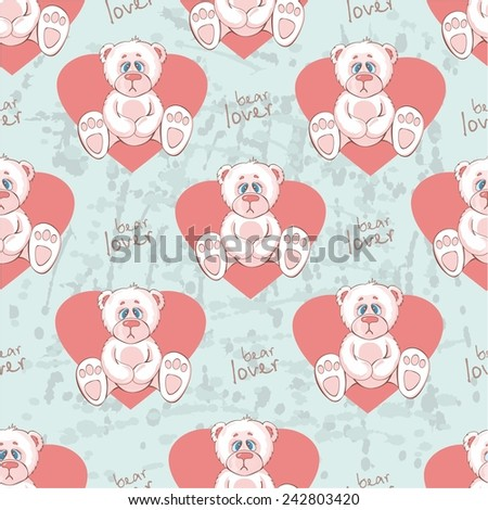 pattern with teddy bear and hearts. vector