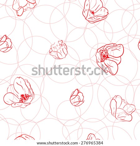 Pattern with tulips and circles. Vector illustration