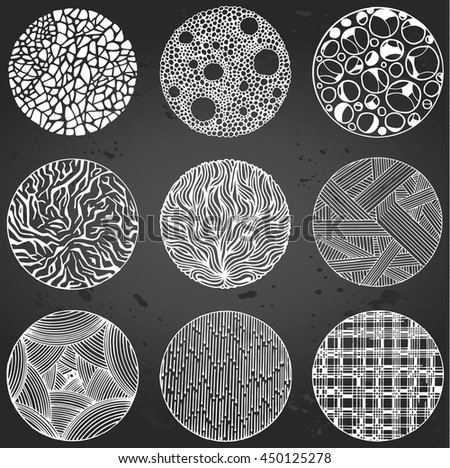 Pattern with vector doodle circles texture. Hand-drawn Abstract illustration isolated on Gray Chalkboard. - stock vector