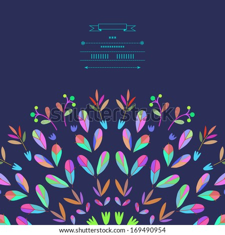 Pattern with vegetative elements in vector - stock vector