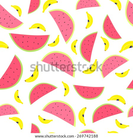 Pattern with watermelons and bananas on a white background. Cute pattern of fruit. - stock vector