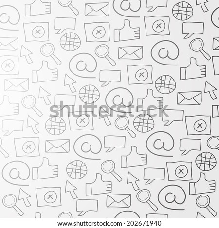 Pattern with web icons at light background