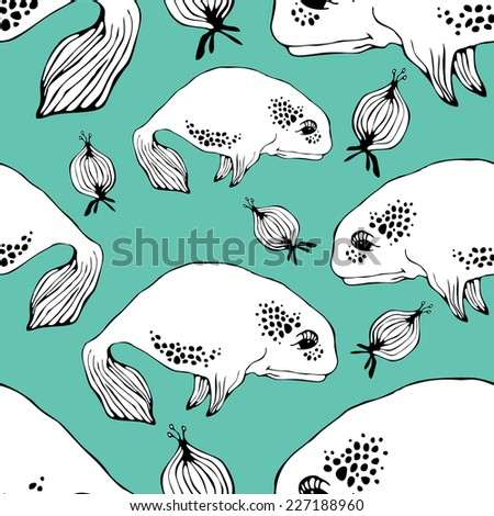 Pattern with whales and jellyfish on turquoise background