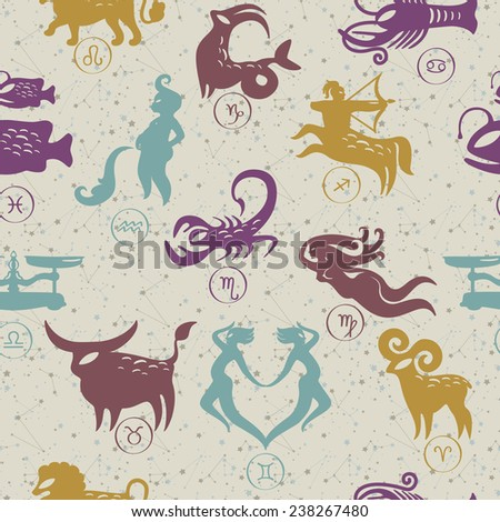 pattern zodiac signs - stock vector