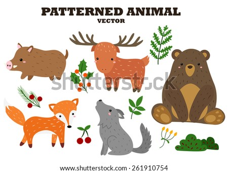 Patterned animal vector set - stock vector