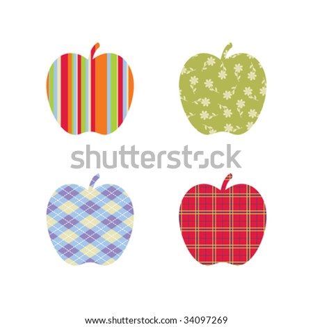 Patterned apples for back-to-school season - stock vector