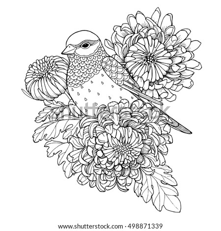 Patterned Bird Sitting On Chrysanthemum Branch Zentangle Page For Adult Coloring Book