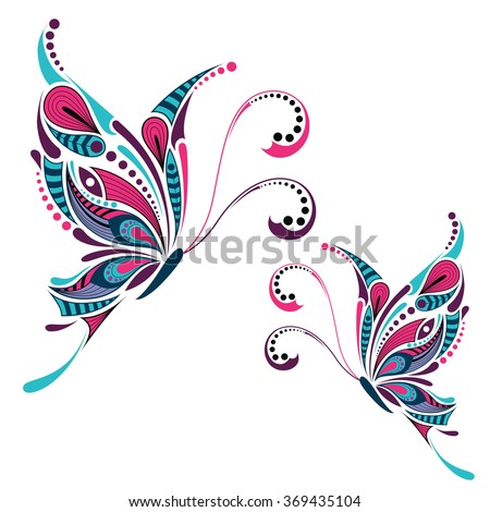 Patterned colored butterfly. African / indian / totem / tattoo design. It may be used for design of a t-shirt, bag, postcard and poster. - stock vector