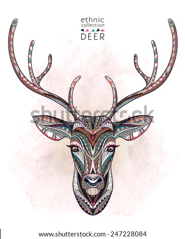 Patterned deer on the watercolor background. African / indian / totem / tattoo design. It may be used for design of a t-shirt, bag, postcard, a poster and so on. - stock vector