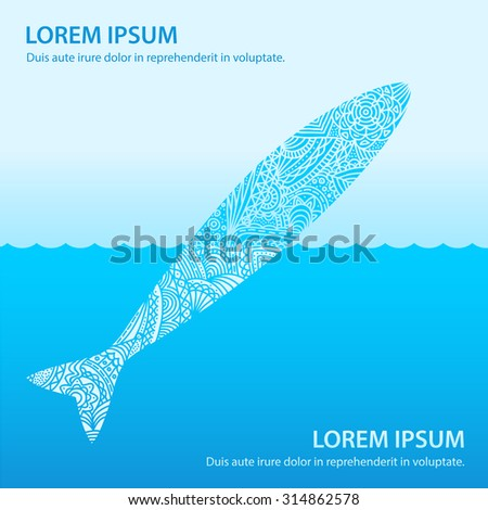 Patterned doodle fish in the sea jumping out of water up. Ocean nature ornament illustration. - stock vector