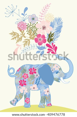 Patterned elephant with bunch of pink flowers - stock vector