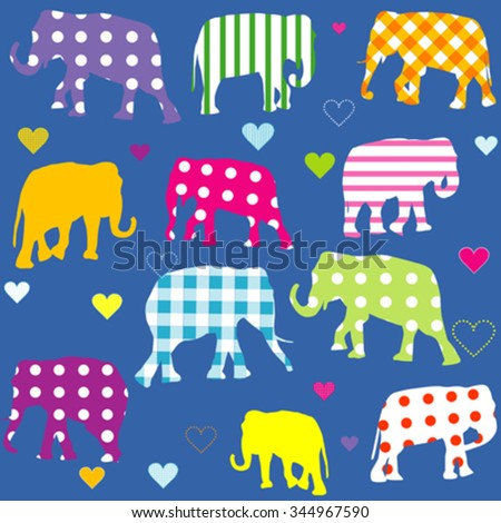Patterned elephants, background for children - stock vector