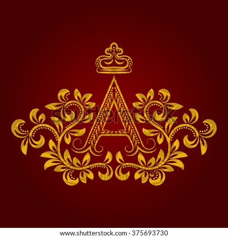 Patterned golden letter A monogram in vintage style. Heraldic coat of arms. Baroque logo template. - stock vector