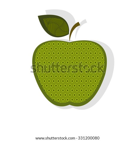 Patterned green apple - stock vector