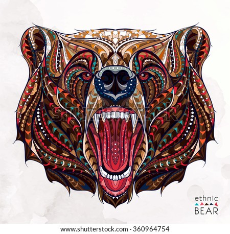 Patterned head of the growling bear on the grunge background. African / indian / totem / tattoo design. It may be used for design of a t-shirt, bag, postcard, a poster and so on.   - stock vector