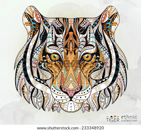 Patterned head of the tiger on the grunge background. African / indian / totem / tattoo design. It may be used for design of a t-shirt, bag, postcard, a poster and so on.   - stock vector