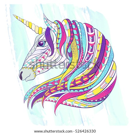 Patterned head of the unicorn on the grunge background. Space horse. Tattoo design. It may be used for design of a t-shirt, bag, postcard, a poster, coloring book and so on.