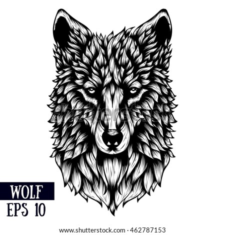 Patterned Head Wolf Vector Illustration Line Stock Vector ...