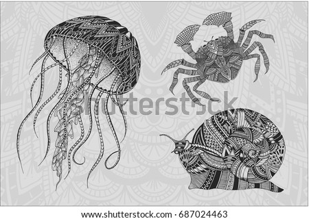Line Drawing Jellyfish : Patterned jellyfish snail crab tattoo design stock vector