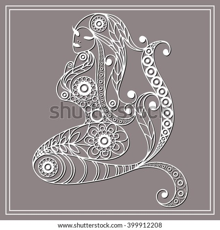 Patterned mermaid in floral style. Suitable for invitation, flyer, sticker, poster, banner, card,label, cover, web. Vector illustration.