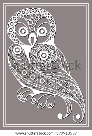Patterned owl in floral style. Suitable for invitation, flyer, sticker, poster, banner, card,label, cover, web. Vector illustration.