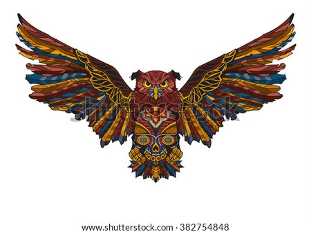 Patterned owl, tattoo design; design of a t-shirt, bag, postcard; african or indian totem