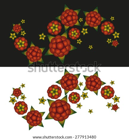 patterned pinstripe with a branch raspberries - stock vector