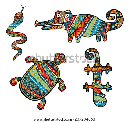 Patterned Reptiles. Silhouettes of turtle, snake, lizard and crocodile. Ornate animals with ethnic abstract pattern. Colorful tribal ornament in collection of various reptiles. Vector is grouped EPS8. - stock vector