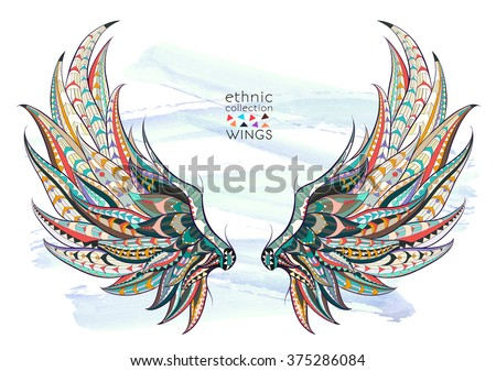 Patterned wings on the grunge background. African / indian / totem / tattoo design. It may be used for design of a t-shirt, bag, postcard, a poster and so on.   - stock vector