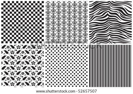Patterns in black and white. - stock vector