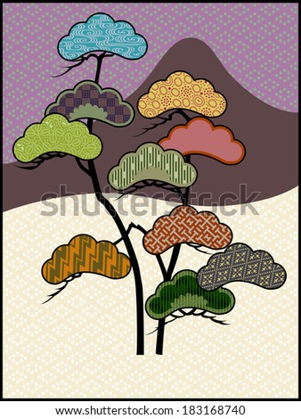 Patterns in the Pines: Vector Illustration in the Japanese tradition, showing various background textures in areas of the pine trees