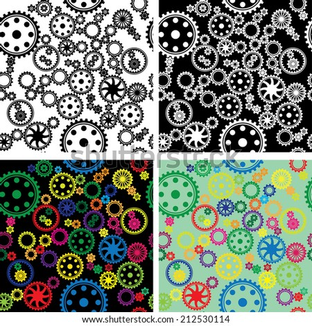 patterns of different types of gears - stock vector