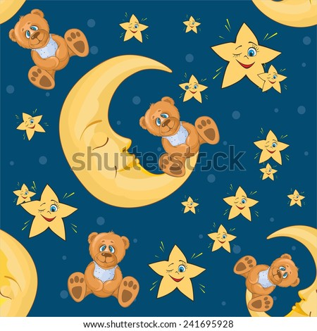 patterns with bears and moon on a blue background. vector