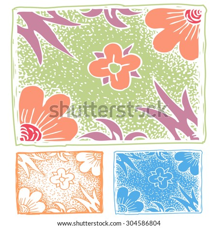 Patterns with hand drawn decorative flowers - stock vector