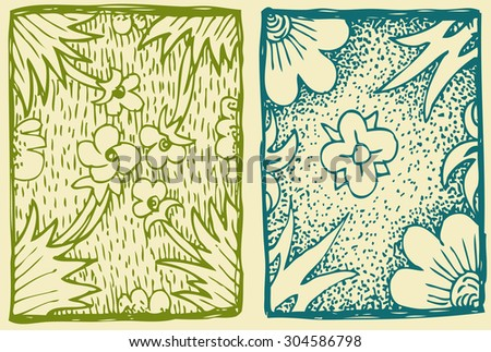Patterns with hand drawn decorative flowers monochrome - stock vector