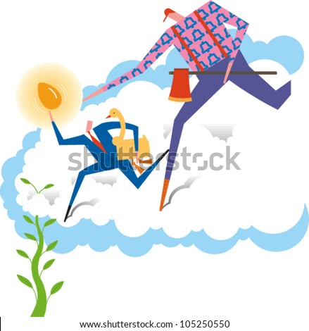Paul Bunyan chases Jack back to the beanstalk carrying the goose that laid the golden egg. - stock vector