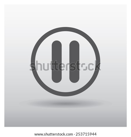 Pause button web icon, vector illustration. Flat design style - stock vector