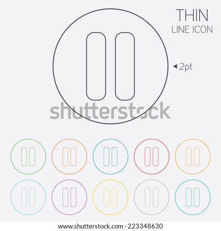 Pause sign icon. Player navigation button. Thin line circle web icons with outline. Vector - stock vector