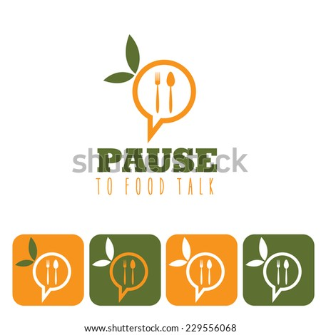 pause to food talk concept and icon set  - stock vector