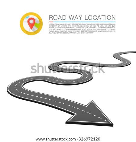 Paved path on the road, Road location arrow, Vector background - stock vector
