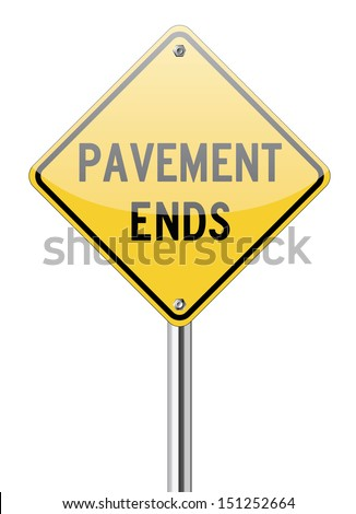 Pavement ends on yellow traffic sign - stock vector