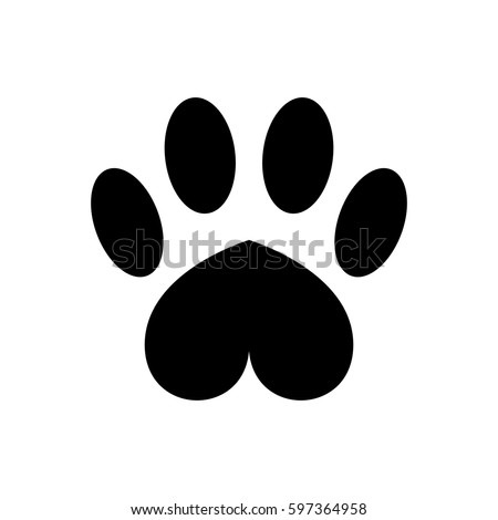Paw heart shaped black.