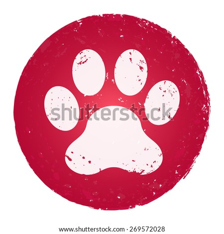 Paw icon. Grunge style stamp. - stock vector
