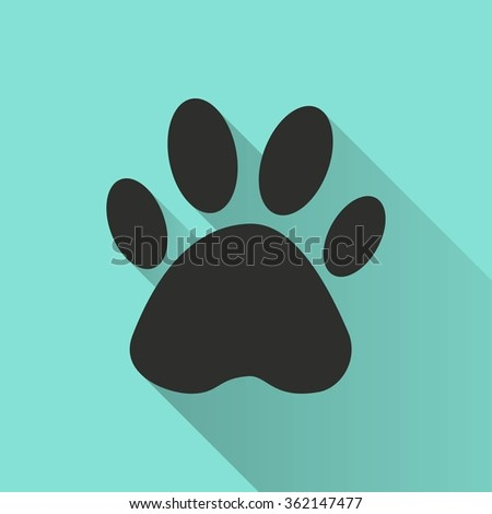 Paw  icon with long shadow, flat design. Vector illustration.