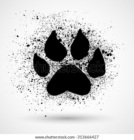 Paw Print. Grunge Vector illustration