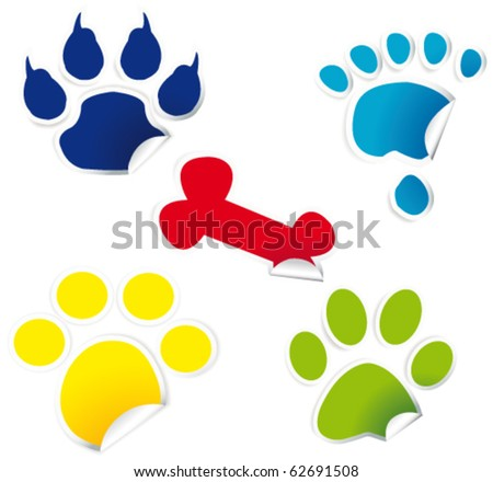 paw print on stickers - stock vector