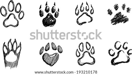 Paw Print Set in different hand drawn techniques - stock vector