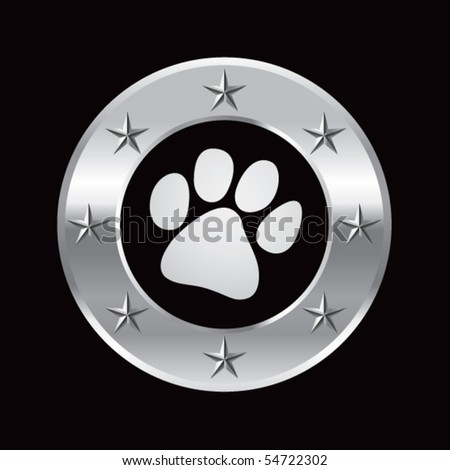 paw print silver star round frame - stock vector