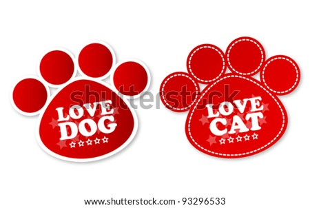 Paw print stickers with text love dog and love cat - stock vector